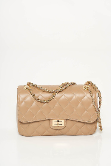 Cream bag natural leather long chain handle