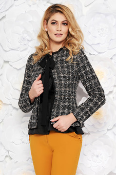 LaDonna black elegant wool jacket arched cut with inside lining with sequin embellished details