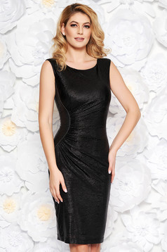 Black occasional midi sleeveless pencil dress from shiny fabric with inside lining