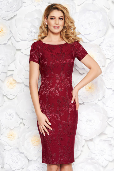 Burgundy occasional midi pencil dress from jacquard with inside lining
