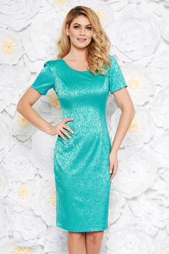Green occasional midi pencil dress from jacquard with inside lining short sleeves