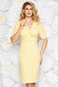 Yellow elegant midi pencil dress slightly elastic cotton with inside lining with button accessories