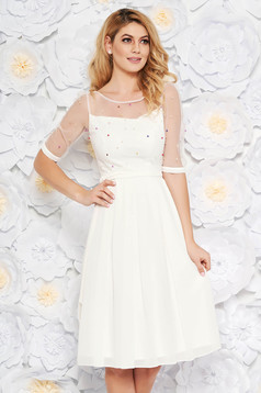 White occasional midi cloche dress from veil fabric with inside lining with small beads embellished details