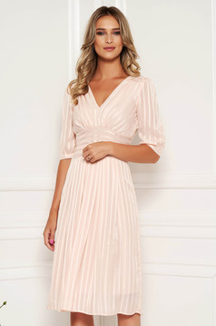 Lightpink occasional midi cloche dress soft fabric with inside lining accessorized with tied waistband
