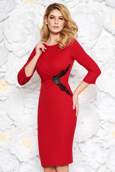 Red elegant midi pencil dress soft fabric with inside lining with lace details