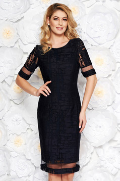 Darkblue occasional midi pencil dress transparent fabric raised pattern with inside lining