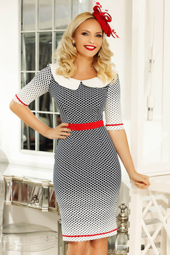 Fofy white daily pencil dress slightly elastic fabric dots print accessorized with tied waistband