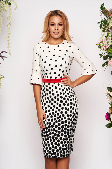 Fofy white daily midi pencil dress slightly elastic fabric with dots print accessorized with tied waistband