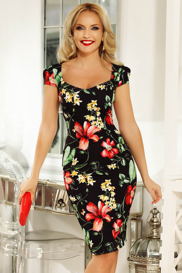 Fofy black daily midi pencil dress slightly elastic fabric with floral prints