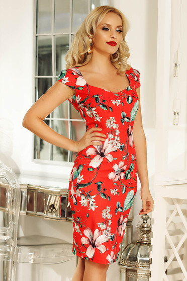 Fofy red daily midi pencil dress slightly elastic fabric with floral prints