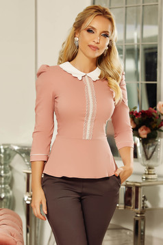 Fofy rosa office women`s shirt with tented cut slightly elastic cotton with lace and pearls