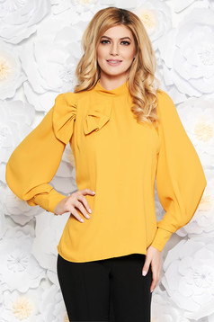LaDonna mustard women`s blouse elegant flared airy fabric with inside lining bow accessory
