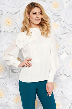 LaDonna white women`s blouse elegant flared airy fabric with inside lining bow accessory
