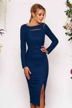 StarShinerS darkblue elegant midi pencil dress long sleeved from elastic fabric