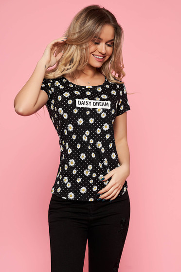 Top Secret black t-shirt casual with tented cut slightly elastic cotton with floral print