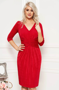 Red occasional midi dress from shiny fabric with inside lining with v-neckline