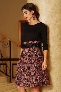 Artista red dress elegant cloche from jacquard with 3/4 sleeves