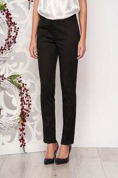 Black trousers office medium waist with pockets slightly elastic fabric conical