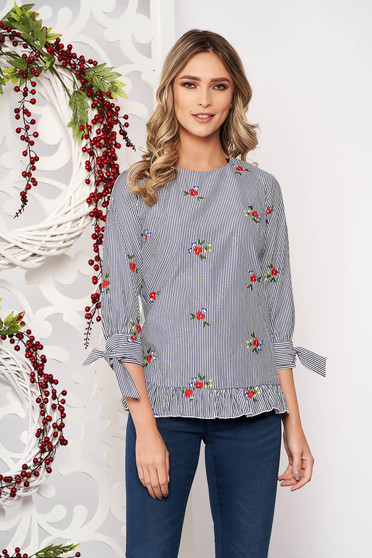 Women`s blouse grey casual flared with floral prints with ruffle details
