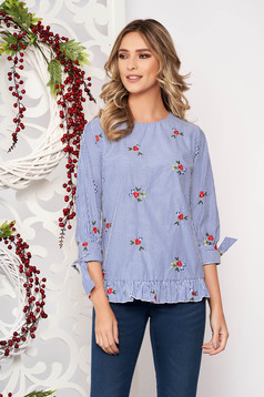 Women`s blouse darkblue casual flared with floral prints with ruffle details