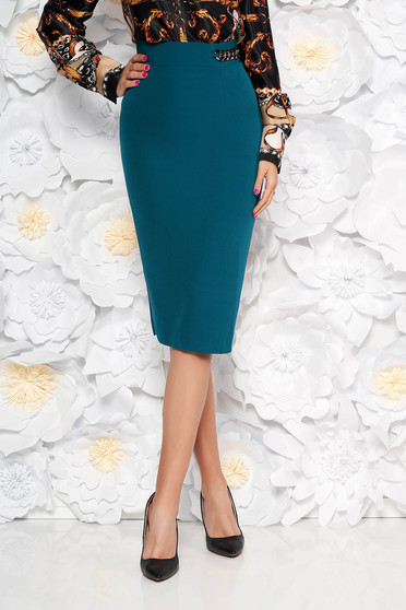 PrettyGirl darkgreen elegant high waisted pencil skirt slightly elastic fabric metallic chain accessory