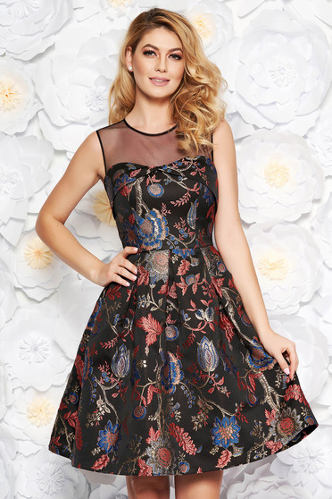 Black occasional cloche dress from jacquard with lame thread with inside lining sleeveless