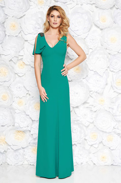 Green occasional long dress soft fabric with inside lining with small beads embellished details