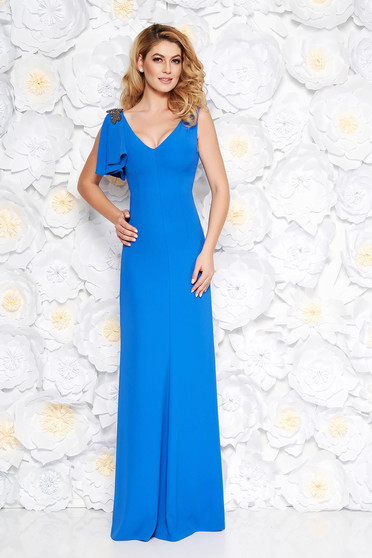 Blue occasional long dress soft fabric with inside lining with small beads embellished details