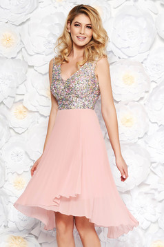 Rosa occasional cloche dress from veil fabric with sequins with inside lining folded up with v-neckline