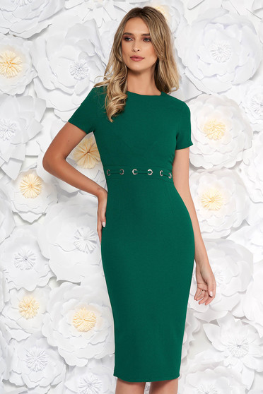 6b82b20782 StarShinerS darkgreen office midi pencil dress from non elastic fabric with  metal accessories