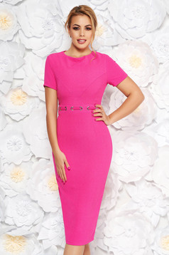 StarShinerS fuchsia office midi pencil dress from non elastic fabric with metal accessories