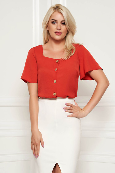 StarShinerS bricky office flared women`s shirt airy fabric short sleeves