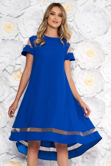 Blue elegant flared asymmetrical dress thin fabric short sleeves