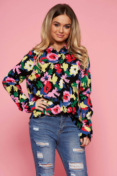 Top Secret red casual flared women`s shirt airy fabric with floral print