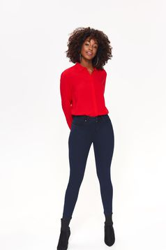 Top Secret red casual flared women`s shirt airy fabric long sleeved