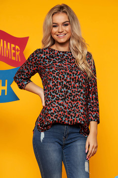 Top Secret red casual flared women`s blouse with a cleavage airy fabric animal print