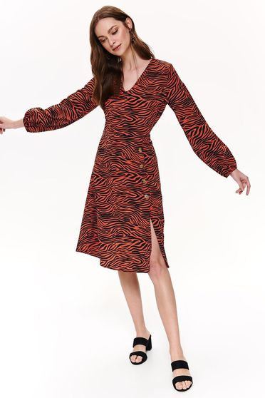Top Secret red daily cloche dress with v-neckline long sleeved