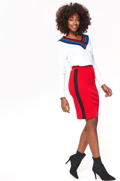 Top Secret red casual skirt slightly elastic fabric high waisted with tented cut with elastic waist