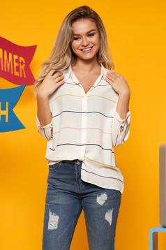 Top Secret white casual asymmetrical women`s shirt with easy cut 3/4 sleeve
