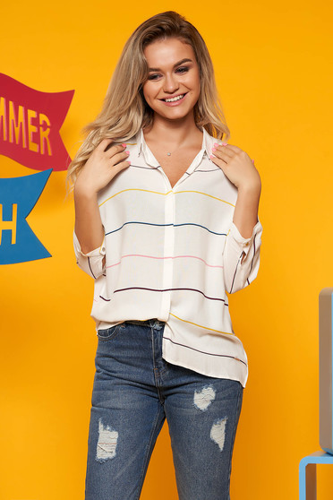 Top Secret white casual asymmetrical women`s shirt with easy cut 3/4 sleeve