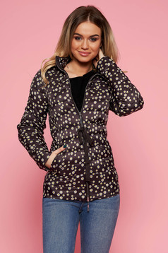 Top Secret black casual from slicker jacket is fastened around the waist with a ribbon long sleeved