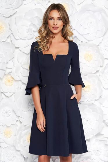 Darkblue StarShinerS office midi cloche dress soft fabric with ruffled sleeves