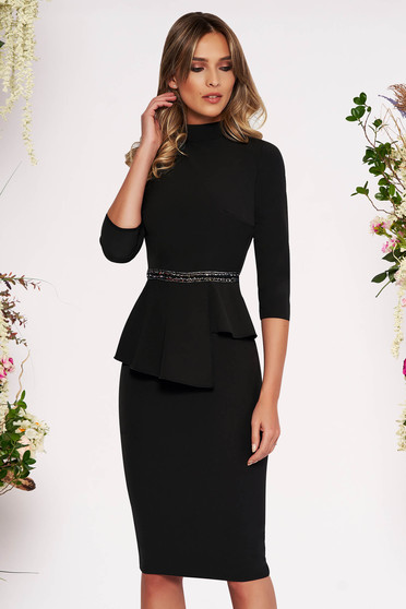 Black elegant midi pencil dress slightly elastic fabric frilled