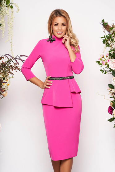 Fuchsia elegant midi pencil dress slightly elastic fabric frilled