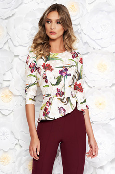 StarShinerS white elegant short cut women`s blouse frilled from non elastic fabric with floral prints