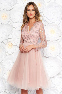 Artista rosa occasional cloche dress from tulle with sequins with inside lining with embroidery details