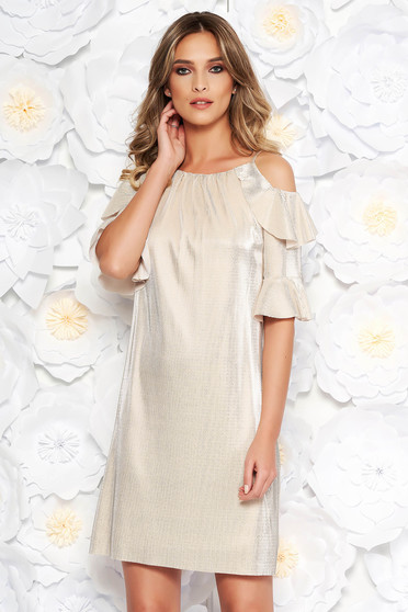 Gold occasional flared dress from shiny fabric with inside lining both shoulders cut out
