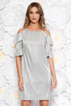 Silver occasional flared dress from shiny fabric with inside lining both shoulders cut out
