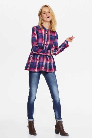 Top Secret purple women`s shirt casual flared thin fabric with chequers