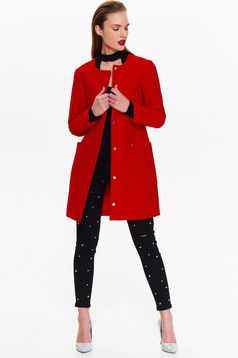 Top Secret red casual coat straight soft fabric with pockets